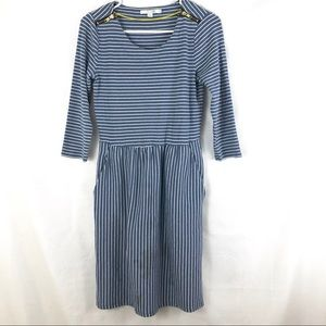 Boden Janie Dress Size 6R Blue and White Stripes
